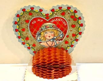 Vintage Valentine Card, Art Deco, Die Cut, Girl in Big Hat,  Embossed, Silver gilded, Red Honeycomb Tissue, Hearts and Flowers, Circa 1930s
