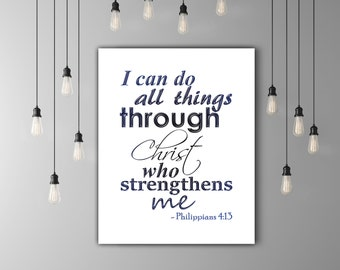 Christian Wall Art Bible Verse Art, Christian Print, Scripture Printable Verse, Christian Art Print, Bible Verse Print, Philippians 4 13