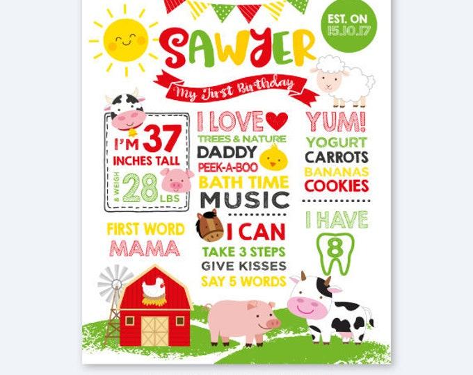 Farm First Birthday Board, Milestones Birthday Sign, Stats Birthday Poster, Any Age, Farm Animals Personalized Printable Board, DIGITAL