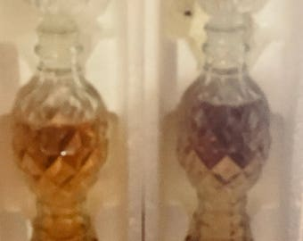 Avon set of clear glass candleholders with boxes
