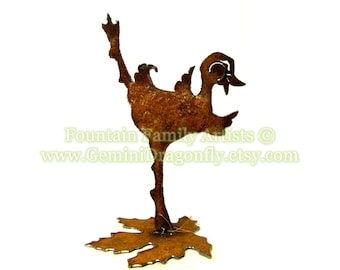 Dancing Duck Garden Art Home Decor Recycled Metal Handmade