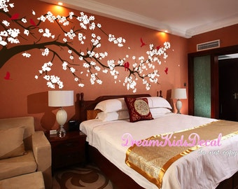 Cherry blossom wall decals tree decals baby nursery kids flower floral nature wall stickers- Cherry Blossom Tree Murals-DK220