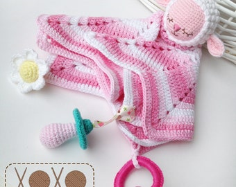 Sheep Lovey | Security Blanket | Crochet Lovey | Baby Toy