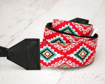 Camera Strap - DSLR Camera Strap - Tribal Camera Strap - Photographer Gift - Nikon Strap - Canon Camera Strap - Camera Accessory - Red Aztec