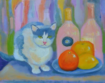 "Painting titled ""Posing with Rosé"" – still life with rosé wine, and cat, original oil, impressionistic, 16x20"", unframed"