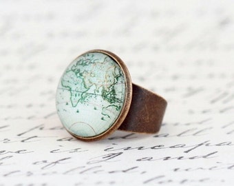 Statement Ring - World Map - Map Ring - Womens Gift - Travel Gift - Gift For Traveler - Map Jewelry - Travels Adventures - Gift For Mom
