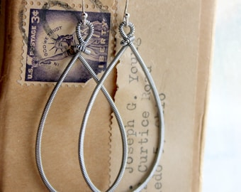 Strung-Out guitar string hammered teardrop earrings