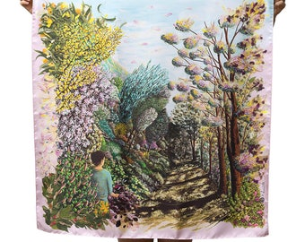 Twill of silk's scarf, square, landscape, hand-drawn, woods, flowers, blue, pink