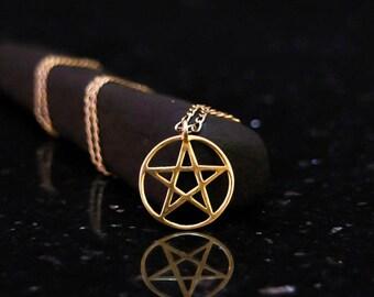 18k gold small pentagram necklace, pentagram charm, pentagram pendant, pentagram choker, pentacle necklace, pentacle choker, wiccan jewelry.