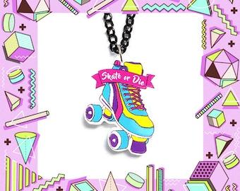 Roller derby necklace - roller skate charm, derby girl necklace, derby grrrl, riot girl, skate or die, 80's pendant