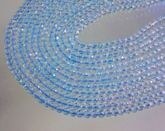 14-inch Natural Blue Topaz faceted round size 3.5mm 36cts GW2306