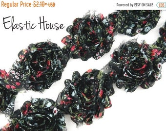 "SALE 30% OFF 2.5"" PRINTED  Shabby Rose Trim- Black Vintage Color- Chiffon Trim - Hair Accessories Supplies"
