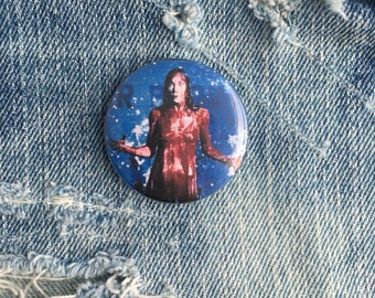 carrie, carrie white, carrie button, horror button, 1.5 inch pin back button, 37 mm pinback button