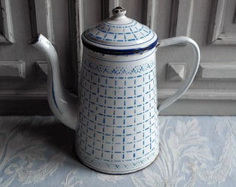 French enamel chequered coffee pot blue and white check vintage, 1930's, enamel jug cafétiere enamelware kitchenalia, antique country decor