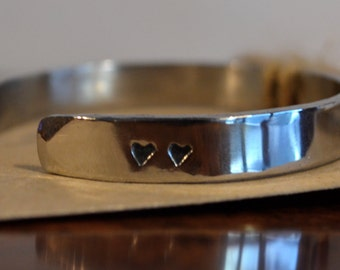 Hand Forged Heart Stampted Stainless Steel Bangle