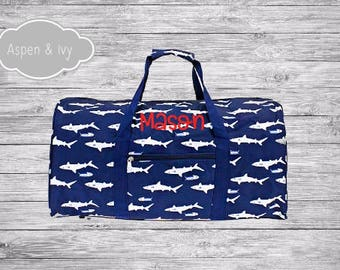 Personalized Duffle Bag for Boys - Monogram Duffle Bag - Personalized Duffle Bag - Shark Duffle Bag - Boy's Luggage - Gift for Boys