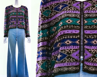 Vintage Gorgeous Heavily Beaded Bohemian Silk Jacket Deep Jewel Tones Purple Green Gold Luxurious Boho Cropped Jacket Crop Top Medium Large