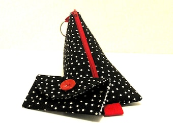 Handmade Pouch Card Case bundle polka dots Bag black pencil case gifts
