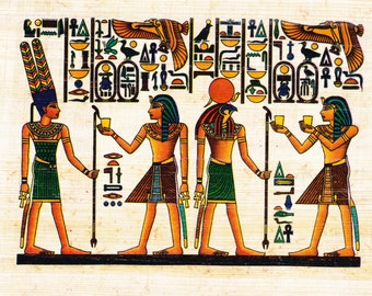Ancient Egyptian Scene. Papyrus notecard. Horus-God of Light and Ramses are part of the design. Blank inside. A unique, beautiful gift.