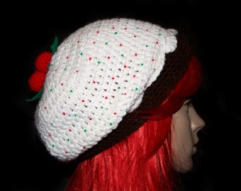 Figgy Pudding Cupcake Slouchy Beret / Ready to Ship!