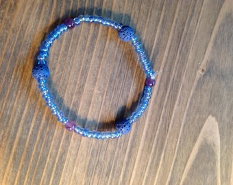 Blue with Purple Accents Diffuser Bracelet