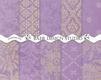Purple and Gold Digital Paper, Purple and Gold Damask Digital Paper, Purple Lace Digital Paper, Distressed Purple digital scrapbooking paper