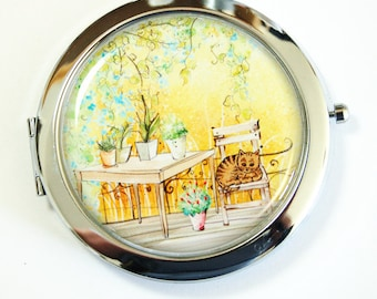 Compact mirror, compact mirror, gift for her, mirror for purse, mirror, Provence, Landscape (2526)