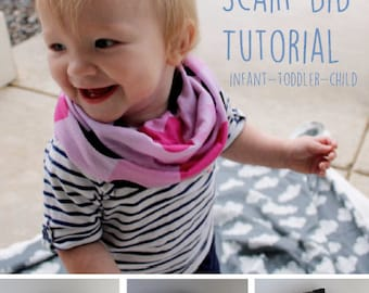Tutorial for infinity scarf bib- PDF pattern infinity scarf bib- DIY scarf bib- baby toddler child- Digital instructions- Hipster Style Baby