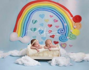 Rainbow hearts digital Newborn Backdrop/Background Prop Twins