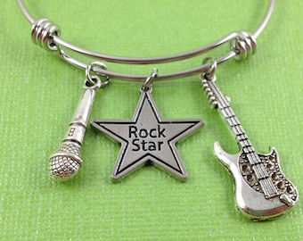 Rock Star Charm Bracelet, Music Charm Bracelet, Rock Star Charm Bangle, Music Jewelry, Gift for Music Lover, Guitar Charm, Microphone Charm