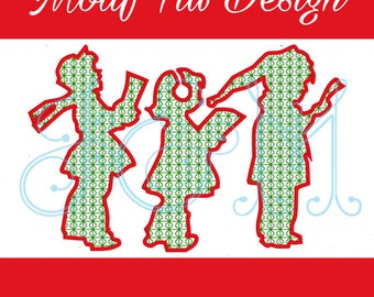 Christmas Carol Kids Silhouette Vintage Style Motif Fill  Embroidery Design