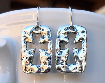 Rustic hammered cross silver metal dangle earrings