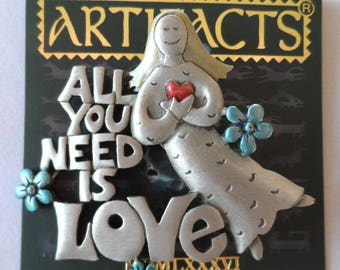 BROOCH JJ Jonette Jewelry signed 'All You Need Is Love' text and girl with heart pewter hippy vintage pin with original JJ Artifacts card