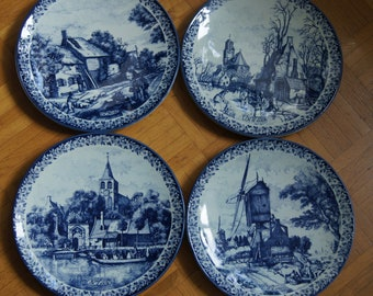 Set of 4 Delft Plates 4 Seasons Delft Pottery Wall Plates Made in Holland : delft dinnerware sets - pezcame.com
