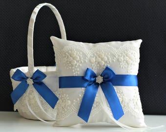 Royal Blue Bearer / Blue Wedding basket / Blue Ring bearer pillow / Royal blue basket / Blue flower girl basket Ivory blue pillow basket set
