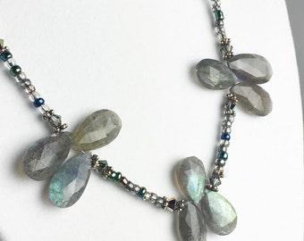 Labradorite Necklace - Gray Gemstone Necklace - Silver Labradorite Necklace - Gray Beaded Necklace