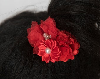 Red Hair Clip, red flower hair clip, girl hair accessories, red wedding flower, red bridal hair piece, baby hair clip, flower girl gift,