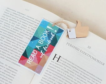 """Funny motivational bookmark """"Read a book, not facebook! """", funny bookmark, facebook bookmark, gift for bookworm, facebook gifts"""