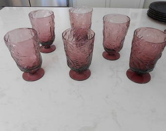 6 Morgantown  Seneca Driftwood Crinkle Footed Tumblers Glasses Amethyst Purple plum color