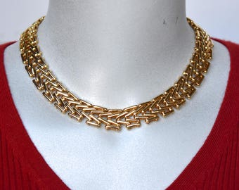 Gold Tone V Section Link Choker Necklace Vintage