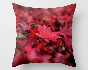 Throw Pillow Cover Red Leaves Japanese Maple Fall Autumn Rustic Vibrant Photo Case Home Bedroom Livingroom Couch Sofa Bed Decor
