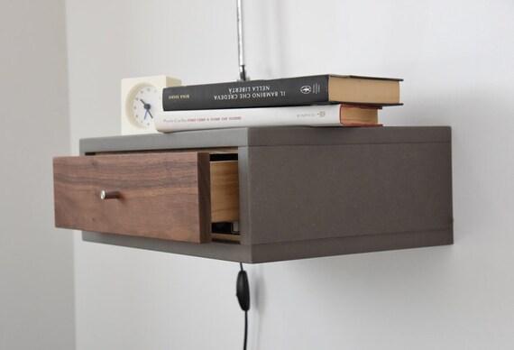 floating nightstand with drawer in walnut scandinavian design. Black Bedroom Furniture Sets. Home Design Ideas