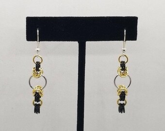 Gold and Black Byzantine and European 4-in-1 Chainmaille Earrings