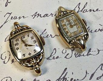 Vintage Antique Gruen Precision Elgin Deluxe ladies watch faces pieces parts 10k gold filled