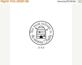 Mothers Day Sale Personalized Bee Hive Ex Libris Bookplate Rubber Stamp C08