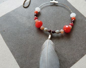 Natural feather necklace orange
