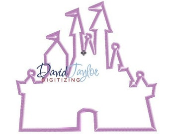 Castle Silhouette - 2x2 3x3 4x4 5x7 6x10 - Embroidery Machine Design - Applique - Instant Download - David Taylor Digitizing