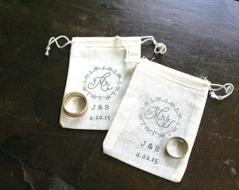 Personalized wedding ring bag cotton ring bag ring bearer