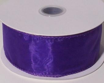 Wired Edge Organza Ribbon - Purple - 10 Yards