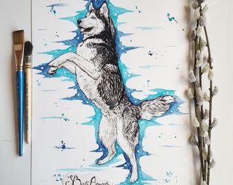 Siberian husky watercolour, husky art, Snow dog, huskies, Siberian husky print, husky, watercolour dog, husky painting, Siberian husky, dog